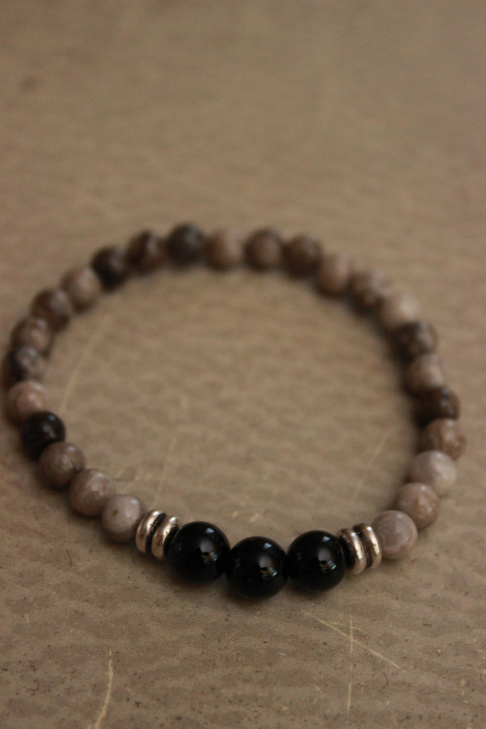 Black Onyx and Jasper Beaded Bracelet