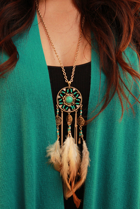 Dream Catcher Feather Necklace Set