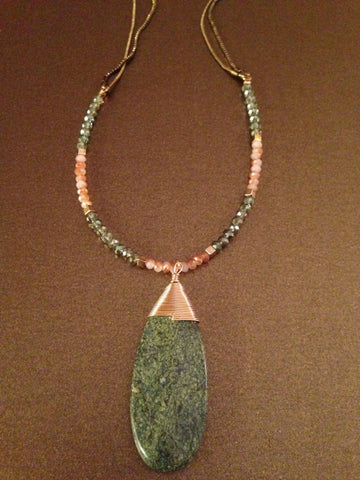 Olive Stone Pendant Necklace