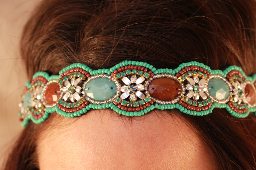 Seed Bead Flower Detailed Headband