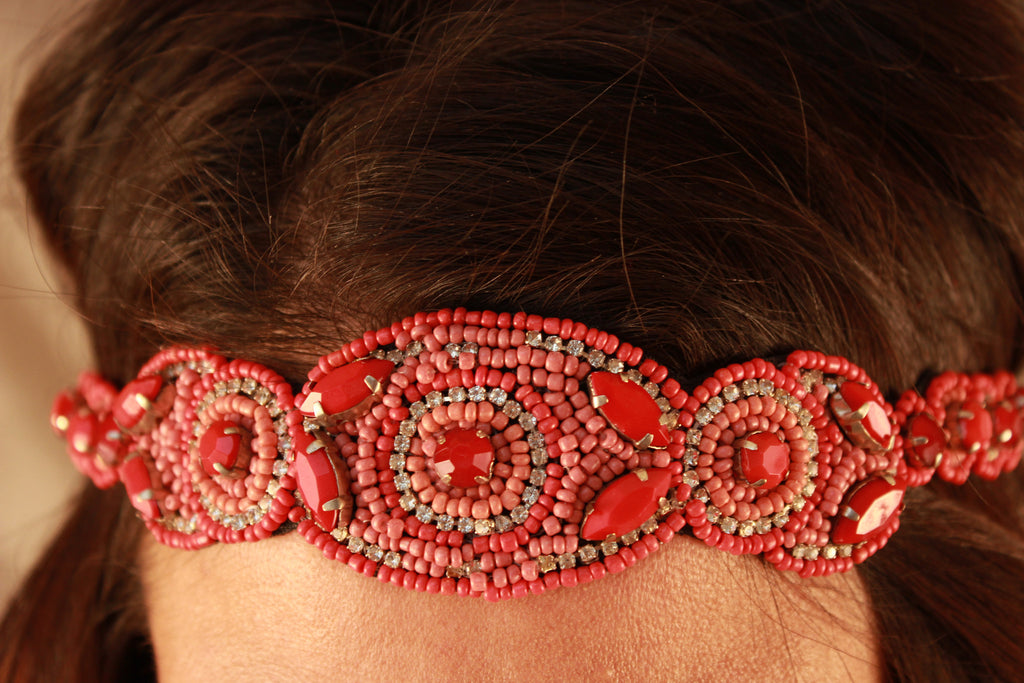 Coral Jewel Studded Sead Bead Headband