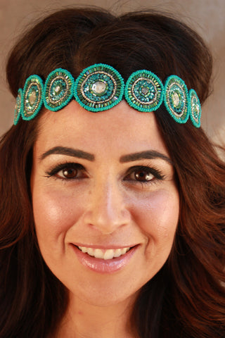 Turquoise Seed Bead with Sequin Headband