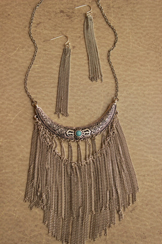Crescent Pendant Tassel Necklace Set