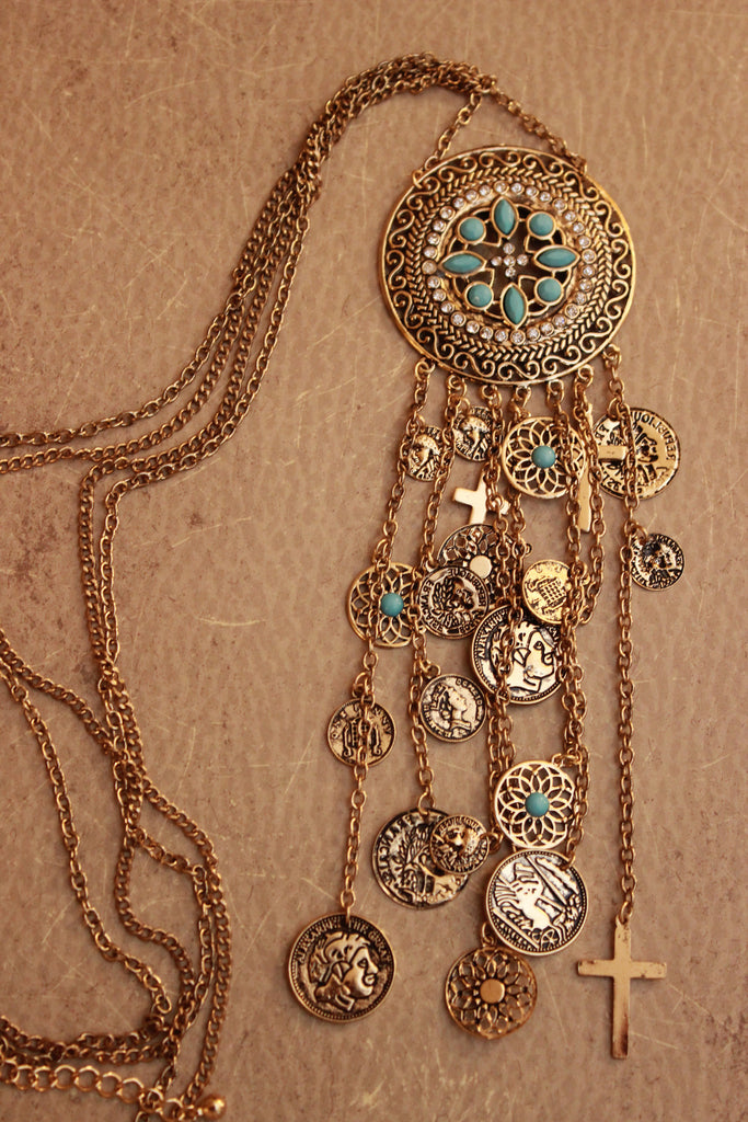 Floral Filigree Coin Charms Necklace Set