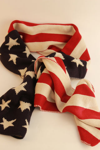 Knitted American Flag Scarf