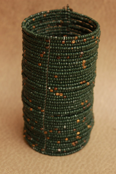 Handmade Ceramic Seed Beads Cuff Bracelet (Evergreen)