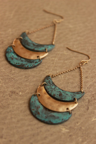 Metal Crescent Dangle Earring