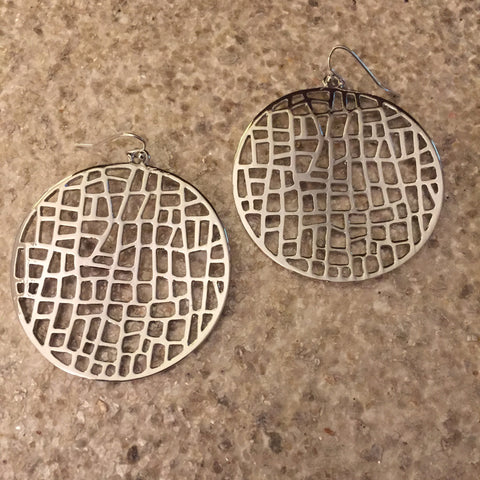 Round Mosaic Earring (Silver)