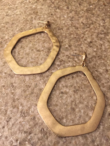 Six Corner Hoop Earring (Gold)
