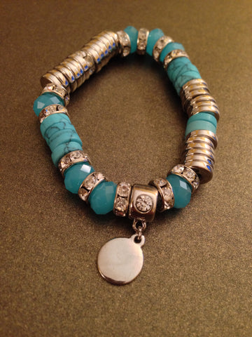 Crystal Rondelle Accents Stretch Bracelet (Turquoise)