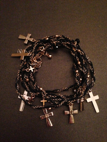 Metal Cross and Chain with Thread Wrap Bracelet (Gold and Black)