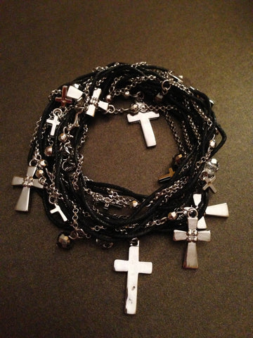Metal Cross and Chain with Thread Wrap Bracelet (Silver and Black)