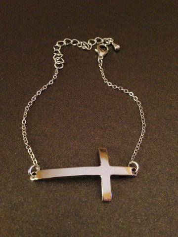 Metal Plain Cross Chain Bracelet