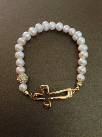 Crystal Ball With Cross and Fresh Water Pearl Bracelet