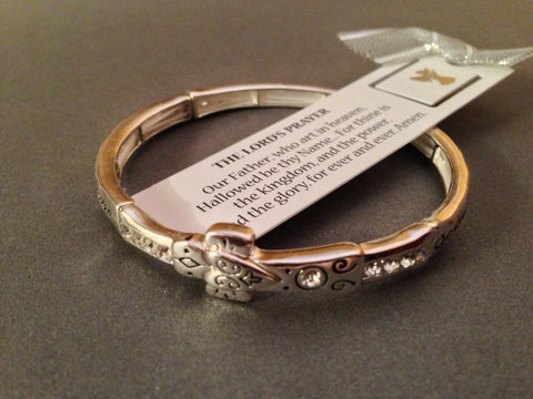 Lord's Prayer | Religious Crystal Studded Stretch Bracelet with Bookmark