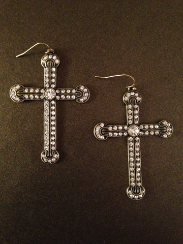 Antique Crystal Cross Earring