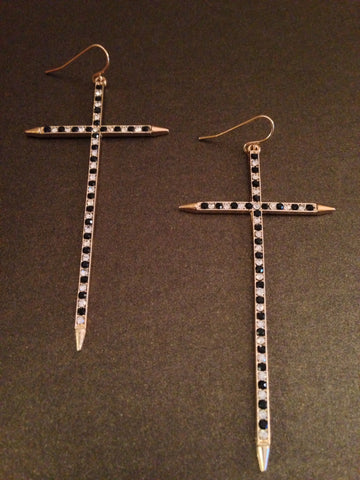 Studded Cross Earring