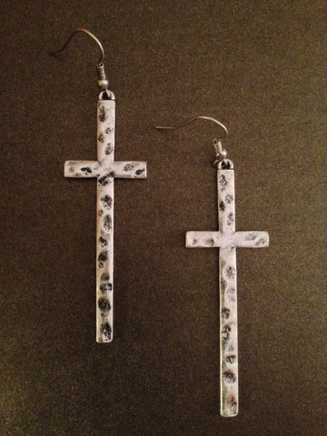 Antique Hammered Cross Earring