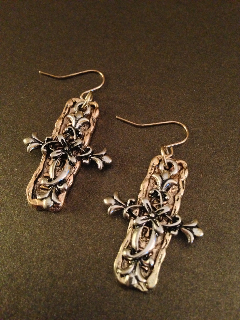 "Two-Toned Hammered Floral ""Amen"" Cross Earrings"