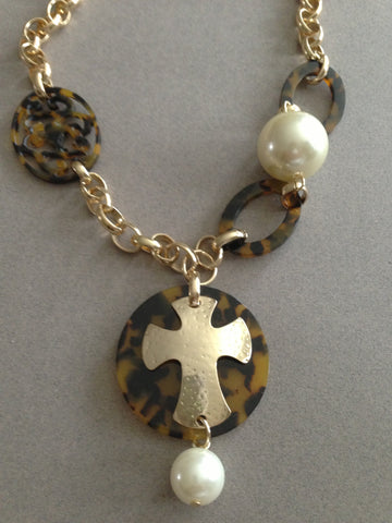 Shell Pearl Cross Pendant Necklace