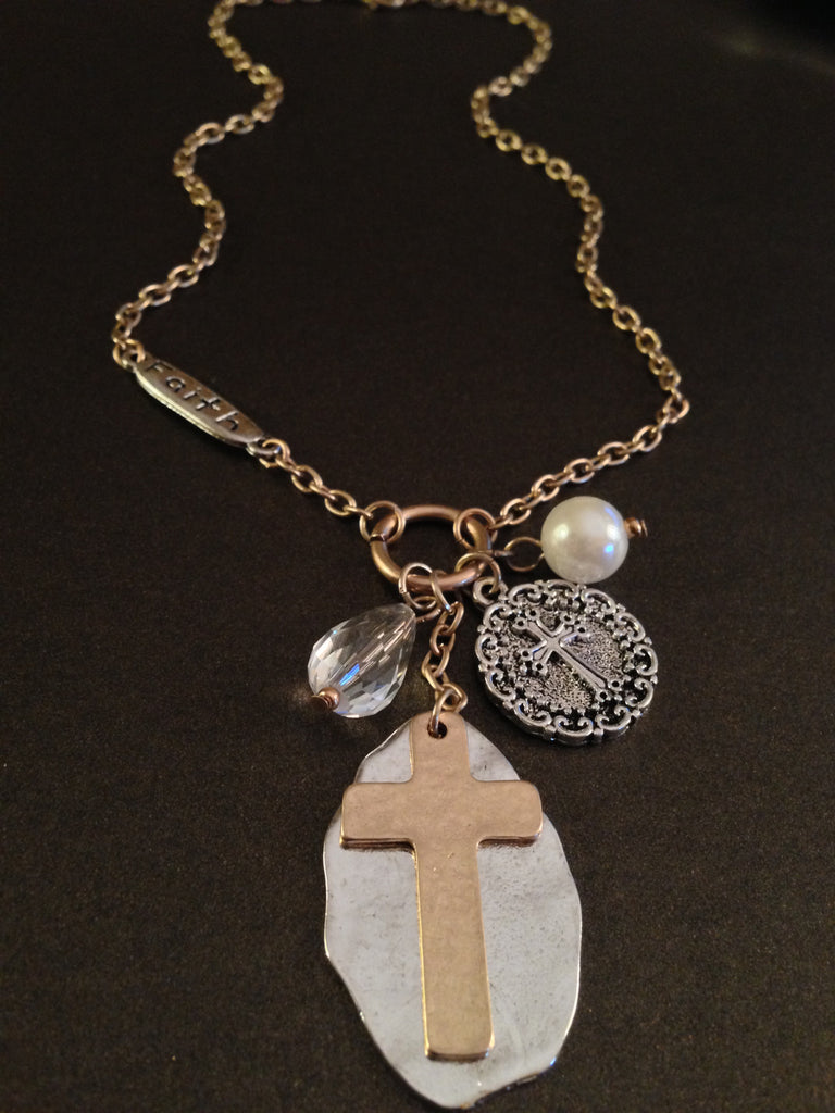 Cross Pendant and Charm Faith Necklace