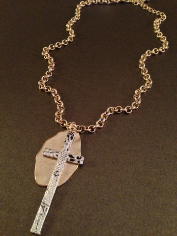 Long Cross Pendant and Charm Faith Necklace