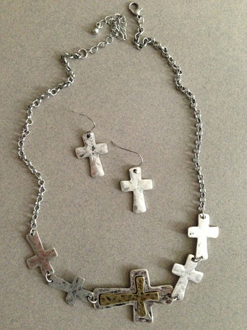 Five Cross Pendant Necklace