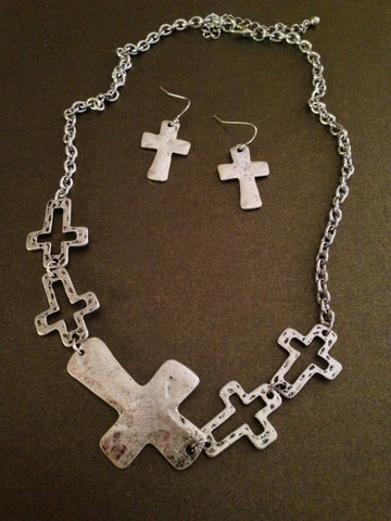 Metal Cross Cutout Necklace Set