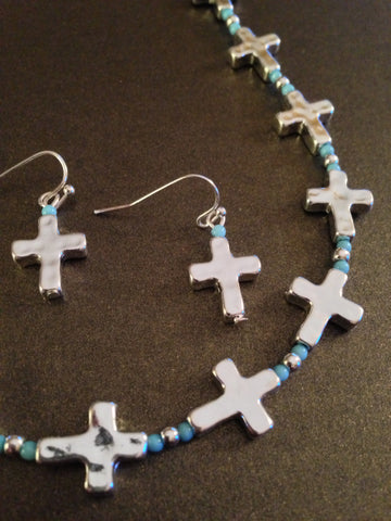 All Around Cross Necklace Set (Turquoise)