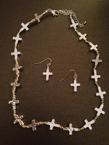 All Around Cross Necklace Set (Ivory)