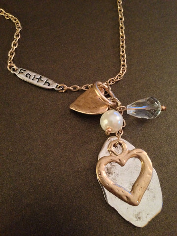 Heart Pendant and Charm Faith Necklace