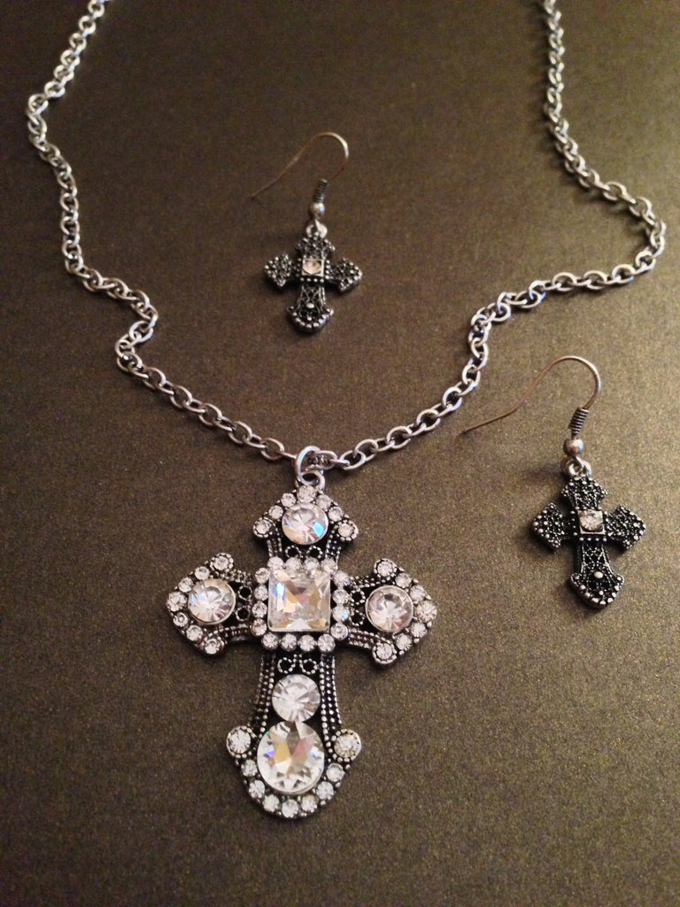 Rhinestone Cross Pendant and Charm Necklace Set