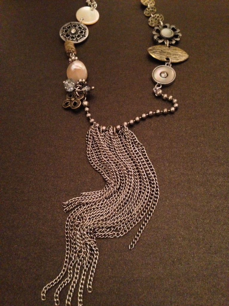 Antique Charms Tassel Necklace (Silver Ox)