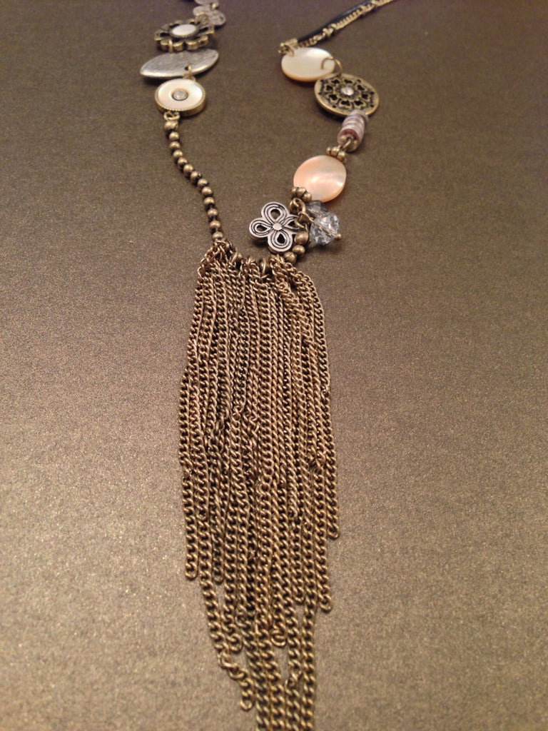 Antique Charms Tassel Necklace (Bronze Ox)