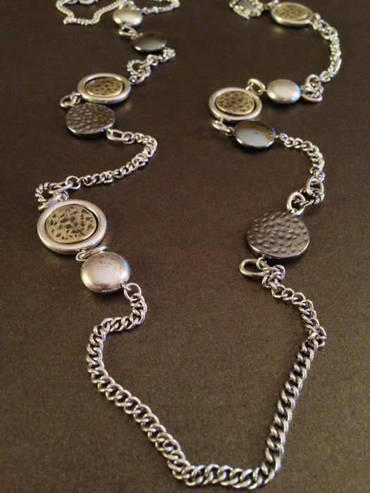Antique Charms Long Necklace (Silver Ox)