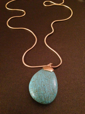 Semi Precious Stone Tourquois Teardrop Pendant Necklace