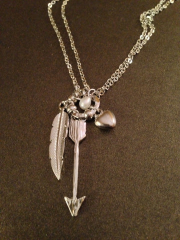 Arrow, Feather and Heart Necklace