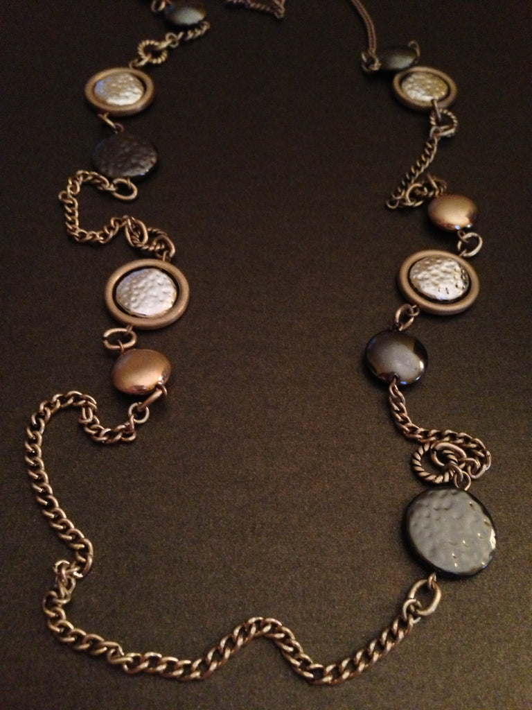 Hammered and Polished Disc Necklace