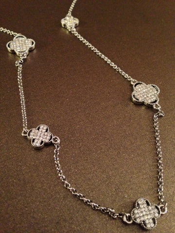 Pave Clover Charms Necklace