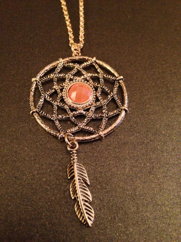 Dream Catcher Pendant Necklace (Peach Coral)