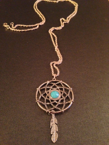 Dream Catcher Pendant Necklace (Turquoise)