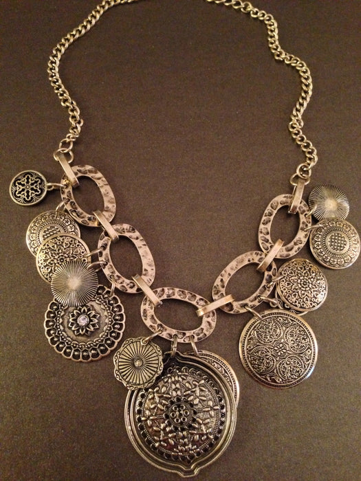 Layered Antique Disc Necklace