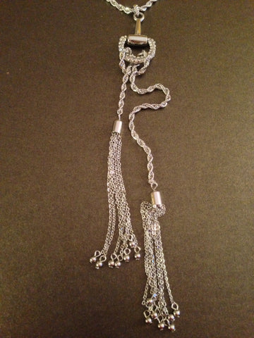 Pave Horsebit Tassel Necklace (Silver)