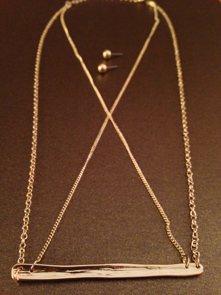 Hammered Criss Cross Necklace Set (Gold)