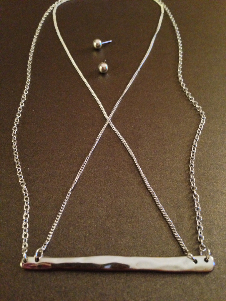 Hammered Criss Cross Necklace Set (Silver)