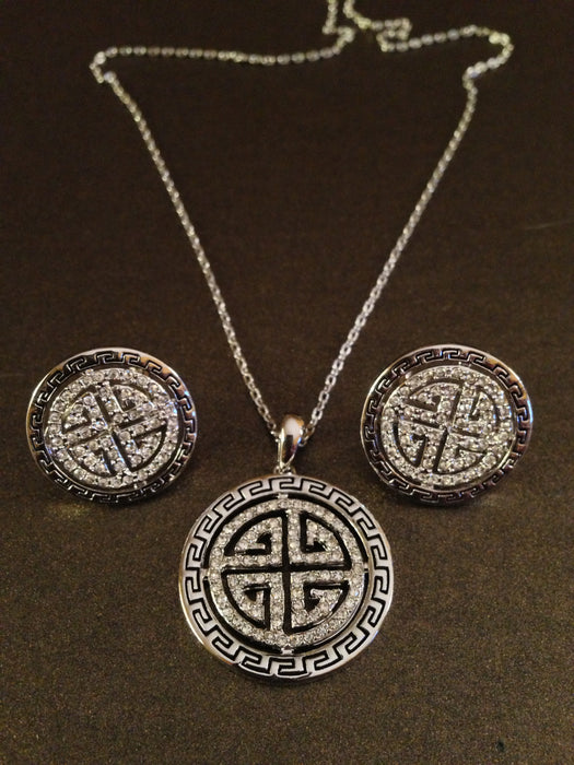 Crystal Medallion Necklace Set (Silver)