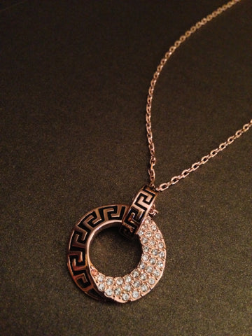 Crystal Encrusted Circle Medallion Necklace