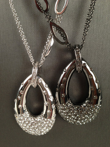 Crystal Encrusted Teardrop Pendant Necklace (Gun Metal)