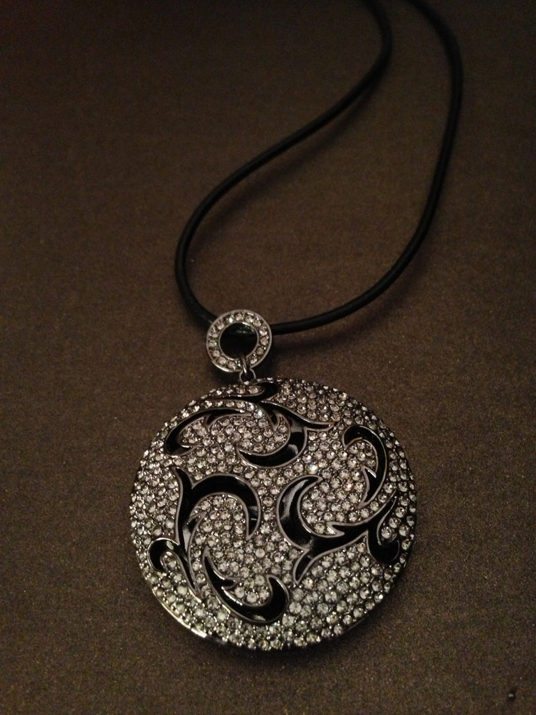 Crystal Encrusted Medallion Pendant Necklace (Gun Metal)
