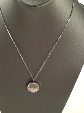 Crystal Lined Medallion Pendant Necklace (Silver)